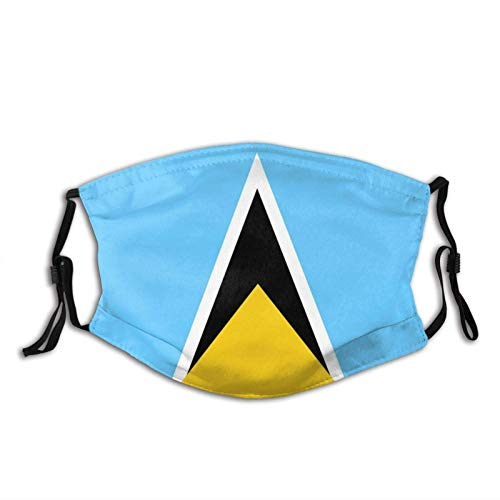 Clásico Bandera De Santa Lucía Transpirable Cara Cuello Polaina Cara Bufanda Mask-Dust, Transpirable Pesca Senderismo Correr Ciclismo