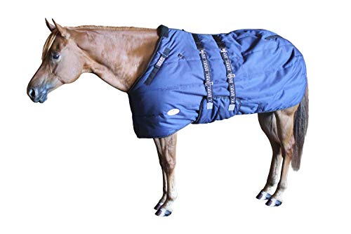 """Derby Originals Nordic Tough Closed Front 1200D Water Resistant Reflective Winter Horse Stable Blanket 300g Heavy Weight, Navy Blue, 72"""""""