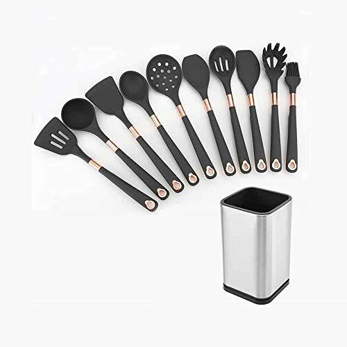 YFQHDD 10 Piezas de Silicona Utensilios de Cocina Antiadherente Set espátula Pala de Acero Inoxidable manija Herramientas del Sistema de Herramientas de Cocina Cooking