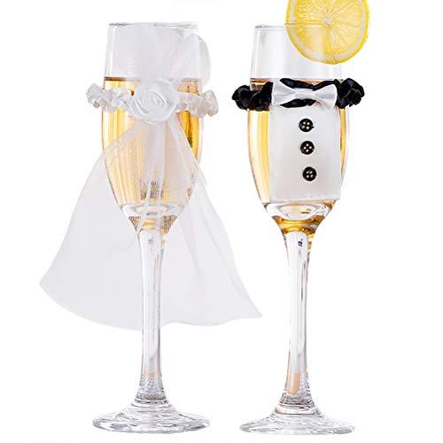 SayHia Trouwjurk Wijnglazen-Handgemaakte Bruid en Groom Champagne Fluiten voor Toasting, Bruiloft Geschenken, Bruiloft Decoraties (set van 4)