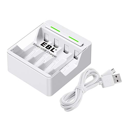 EBL Quick Smart AA AAA Battery Charger with 1A USB Input Port for Ni-MH Ni-CD Rechargeable Batteries