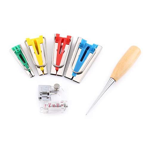 6Pcs Bias Tape Maker Kit 6/12/18 / 25MM Guida per strumento di rilegatura Trapuntatura a strisce con custodia