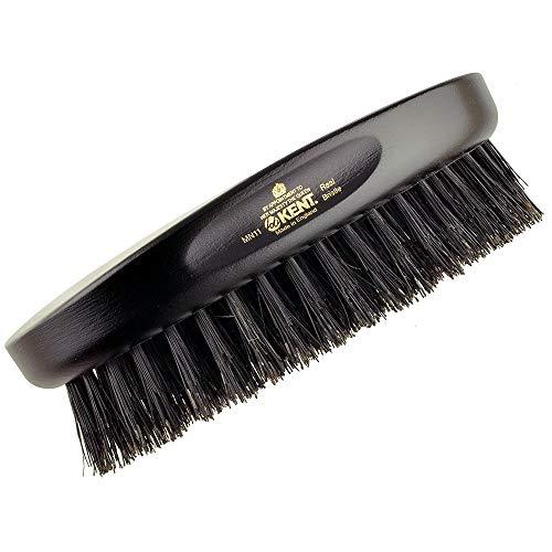 Kent MN11 Finest Men's Hair Brush and Facial Brush for Beard Care - 100% Natural Black Boar Bristle Brush for Mens Grooming, Scalp Brush, 360 Wave, and Beard Straightener For Men's Hair Care