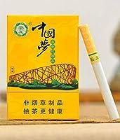 緑茶ハーブシガレット、雲南中国のハーブ茶タバコ、男性と女性の健康タバコ、緑茶メンソールタバコ、モークティー、スモークティー、ニコチンとタールはありません (中国夢,5パック)