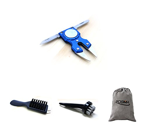 POSMA DR030H Bundle Set 4 in 1 Golf Multi Function All in One Golfers Tool Bundle Set with 1pc Nylon Cleaning Bristles Shoehorn Handle and Spike Wrench + 1pc Nylon Golf Club Wedge Shoe Cleaning Brush