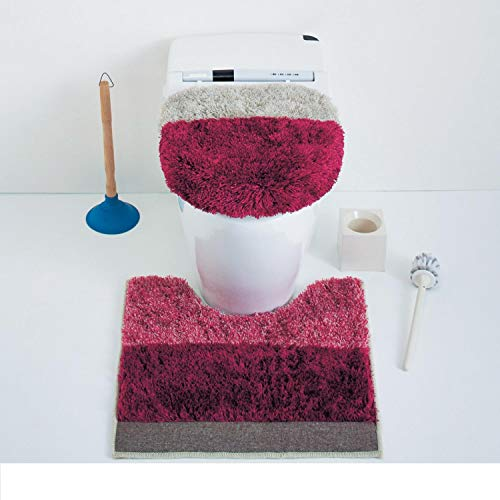 [ベルメゾン] トイレマット ふたカバー 2点 セット ミックスシャギー 洗える トイレファブリック ピンク 標準&O・Uフタセット