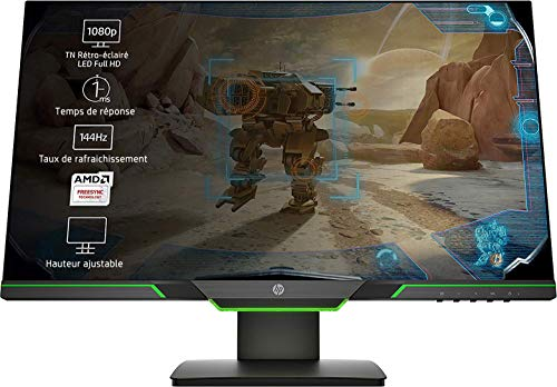 HP 25x (24,5 Zoll / Full HD 144Hz) Gaming Monitor (AMD FreeSync, DisplayPort, HDMI, 1920 x 1080, Reaktionszeit 1ms) schwarz
