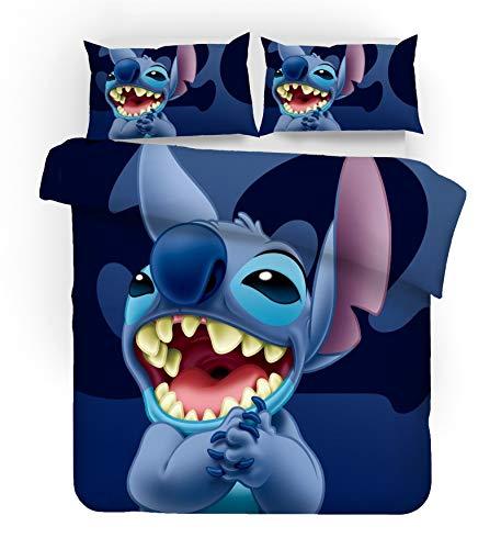 SMNVCKJ Ropa de cama para adolescentes Lilo und Stitch de microfibra, diseño de dibujos animados, 3D, funda nórdica y funda de almohada de anime (140 x 210 cm)