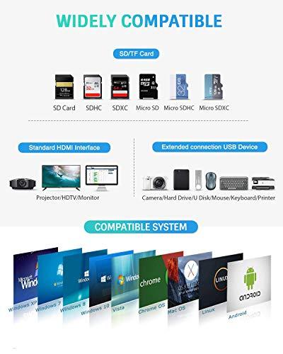Hiearcool USB C Hub, USB C Adapter MacBook Pro Adapter, 7 in 1 mit 4K HDMI-Ausgang, kompatibel für Laptop und andere Typ- C- Geräte (PD TF Kartenleser 100W)