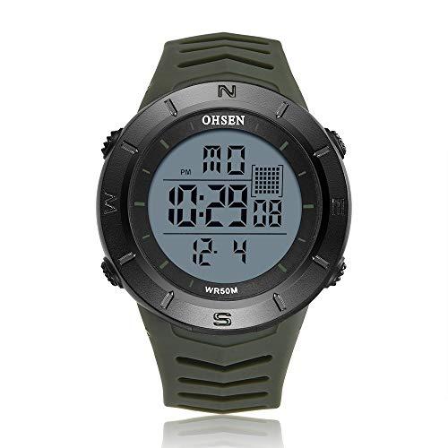 NO LOGO HMLSM Schwarz Digital-Männer Armbanduhr Stoppuhr OHSEN Sport Tauchen Militar Uhr Junge Uhren Outdoor-Shock LED-Mode-Uhr montre Homme (Farbe : Green Watch)