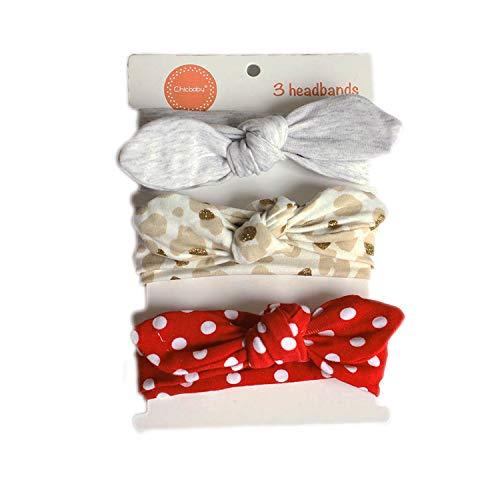 COUXILY Neonate Fasce morbide in cotone Fiocco annodato con fiocco Fascia elastica Solido e stampato Fiocco di colore Fiocco per capelli per i più piccoli Neonati Set regalo per bambini (B03)