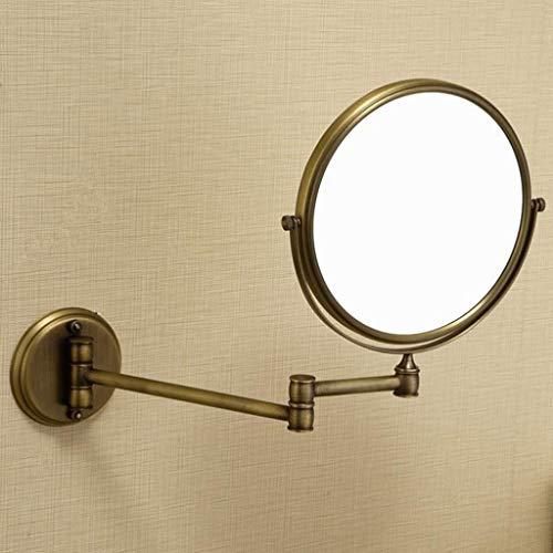 Espejo Maquillaje Espejo Cosmético Cuarto de baño Espejo de baño, montado en la pared de cobre antiguo telescópica maquillaje espejo plegable espejo de doble cara de aumento Espejo de belleza Espejo M
