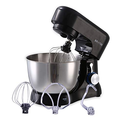 Stand Mixer,5-QT 660W 10-Speed Tilt-Head Food Mixer with Splash Guard, Kitchen Electric Mixer with Dough Hook, Wire Whip & Beater (Black)