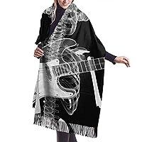 X-Ray Skull Skeleton In Headphones Playing Guitar カシミアスカーフ 大判 ショール ストール メンズ レディース 無地 カシミア100% 冬 秋 暖かい 膝掛け スカーフ 男女兼用 防寒防風 大人コーデ ビジネス 結婚式 誕生日 クリスマス 新年 ギフト プレゼント