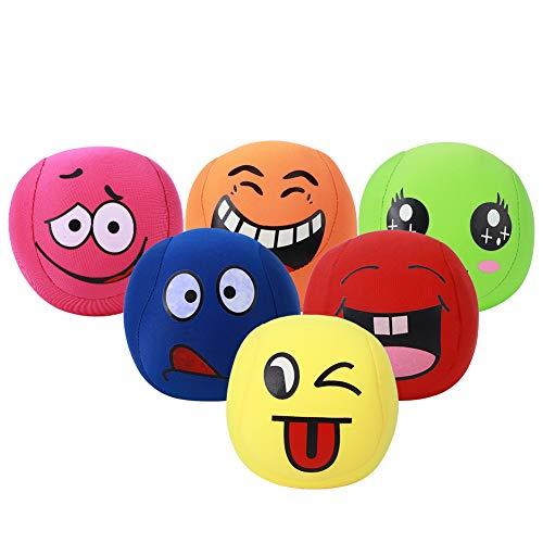 Yinuoday 6PCS Children Elastic Cartoon Juggling Sand Balls Kindergarten Animal Smiling Face Game Toys Juggling Sand Balls