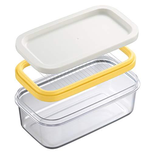 Tree2018 - Mantequilla para mantequilla con cortador de corte, caja de mantequilla, recipiente hermético rectangular de almacenamiento de alimentos con inserto de mantequilla, estuche para mantequilla