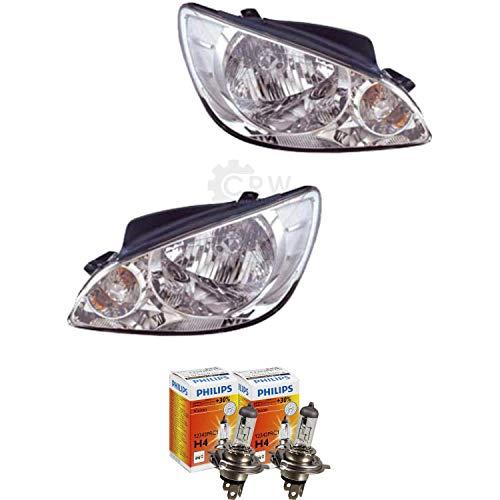 QR-Parts 69598227 Set Scheinwerfer links 1005344 + Scheinwerfer rechts 1007293 + PHILIPS H4 Vision +30% 12342PRC1 (2-Stück)
