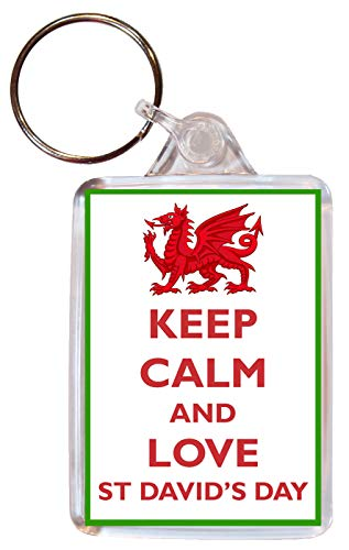 Keep Calm and Love St David's Day - Double Sided Large Keyring Key Ring Fob Chain Name Tag Souvenir/Gift/Present