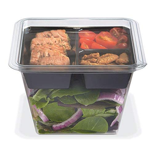 PLACON Fresh'n Clear GOCUBES Set: 36 oz Clear Plastic Container with 3-Compartment Black Insert Tray and Clear Lid, (50 SETS), PET Material