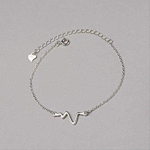 ZPPYMXGZ Co.,ltd Collar de Moda, Pulsera de Modelado de electrocardiograma, frecuencia de Latido del corazón de Mujer, joyería de Mano, Pulsera de Rayo Simple