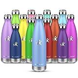 KollyKolla Botella de Agua Acero Inoxidable, Termo Sin BPA Ecológica, Botellas Termica Reutilizable Frascos Térmicos para Niños & Adultos, Deporte, Oficina, Yoga, Ciclismo, (350ml Macaron Azul)