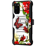 TurtleArmor | Kompatibel mit Samsung Galaxy S20 Hülle 6.2 | Samsung Galaxy S11e Hülle [Hyper Shock] Fitted Armor Holster Gürtelclip Hybrid Cover Stand Shock Schutzhülle - Butterfly Roses
