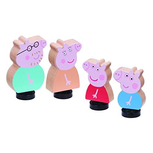 Peppa Pig Pack de 4 Figurines en Bois Famille Pig