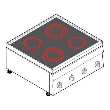 Réchaud vitrocéramique - 4 plaques - gamme 600 - Tecnoinox