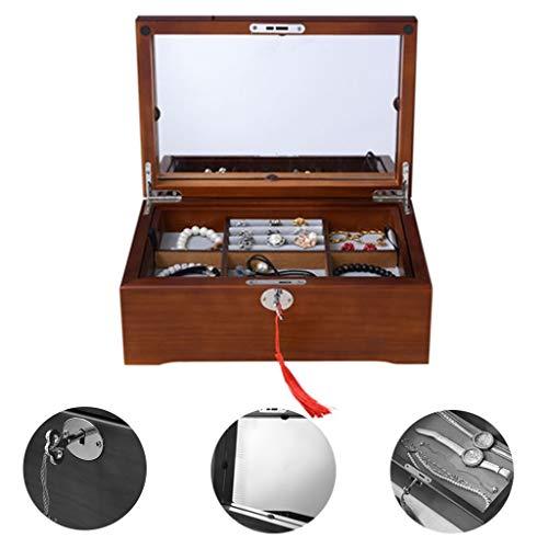 Schmuckkästen Schublade Schmuckschatulle Schmuck Aufbewahrungsbox Haushalts-Speicher-Box Locked Schmuck-Box (Color : Walnut, Size : 30 * 21 * 6cm)