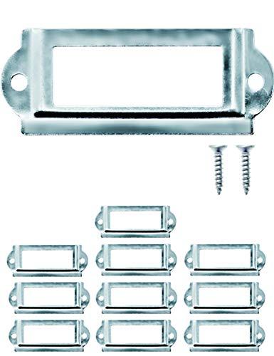 FUXXER® - 10x Etiketten-Fenster, für Einschübe für Apotheker-Schränke, Kartei-Kasten, Sortier-Kästen, Archiv-Schubladen, Archivierung, 64 x 32 mm, 10er Set, silber