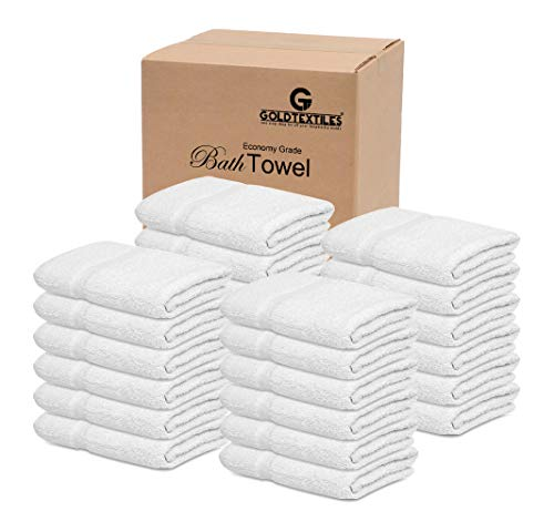 GOLD TEXTILES Bath Towels,36 Pack (22x44 Inches, White) Economy Light Weight Hair Drying Towels Gym Towels (36)