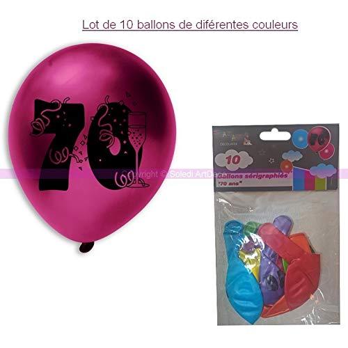 ballonnen, zeefdruk, 70 jaar, diameter 28 cm, voor decoratie verjaardag
