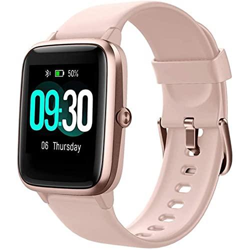zyz ID205L Smart Watch 1.3 Pulgadas, IP68 Impermeable, monitoreo de frecuencia cardíaca, Reserva a Largo Plazo, Pulsera Inteligente Deportiva,Rosado