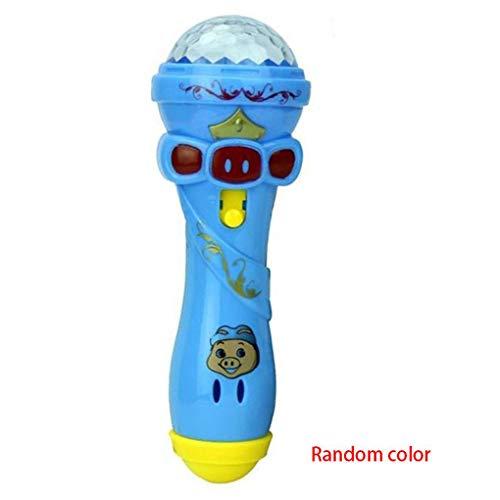 Babysbreath17 Niños de Juguete de Dibujos Animados de iluminación Micrófono Karaoke palillo de luz del proyector de Regalo de los niños del Color Aleatorio