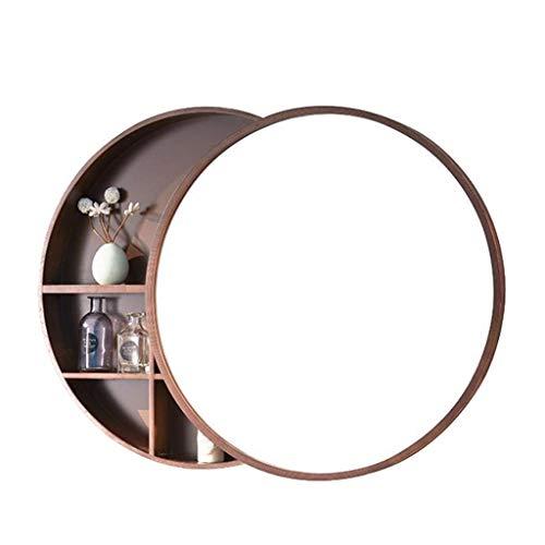 Sdk spiegel ronde badkamer kabinet, badkamer muur opbergkast, medicijnkast met stalen glijbanen, roestvrij houten frame 3 laag