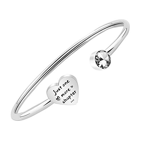 PLITI Bookworm Gift Just One More Chapter Open Cuff Bangle Book Lover Reader Librarian Teacher Jewelry Gift (Just One More Chapter Bracelet)