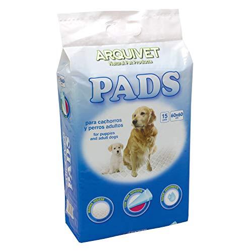 Arquivet Pads para Perros súper absorbentes - Empapadores higiénicos educativos para Perros - Empapadores Desechables - Alfombrilla higiénica para Perros - 15 uds. - 60 x 60 cm
