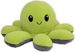 Flip two-sided Octopus Plush Stuffed Doll Toy Different Sides To Show Different Moods grey X lemon
