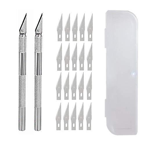 Hobby Knife Juego de cuchillos artesanales de precisión de acero inoxidable para bricolaje Trabajo de arte - 2 asas y 60 hojas de repuesto con estuche (2+20-2)