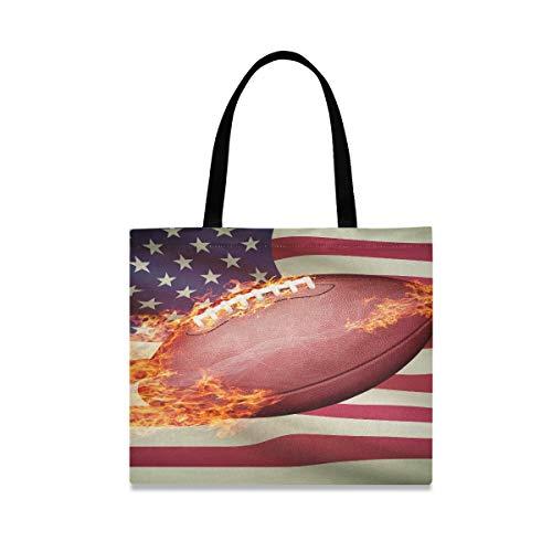 Große quadratische Kapazität Strand Einkaufstasche American Football Ball mit Flagge auf Ser Tote Canvas Einkaufstasche 19,7 X 16,9 Zoll Druck für Mädchen Damen Einkaufen tägliche Arbeit