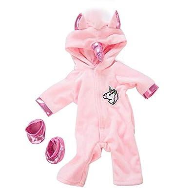 DUORUI Ropa de Muñeca Traje de Invierno Monos Pijamas para Muñeca New Born Baby Doll Patrón de Unicornio de 18 Pulgadas