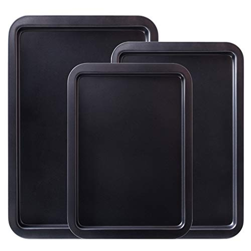 Amazqi Baking Sheet Nonstick, Cookie Sheet Pans 15/17/19 Inch Heavy Duty Carbon Steel, Non Toxic Rust Free Durable Easy Clean PFOA & PFOS Free (3 Piece Set)