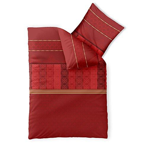 CelinaTex Fashion Bettwäsche 155 x 220 cm 2teilig Baumwolle Susan Streifen Ornament Rot Beige
