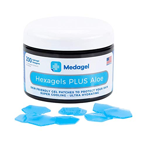 Medagel Hexagels Plus Aloe Vera - Hydrogel Pads Protection and Treatment | Blister Prevention | Instant Cooling and Soothing Relief of Skin Irritations | 200ct Hexagon Pads
