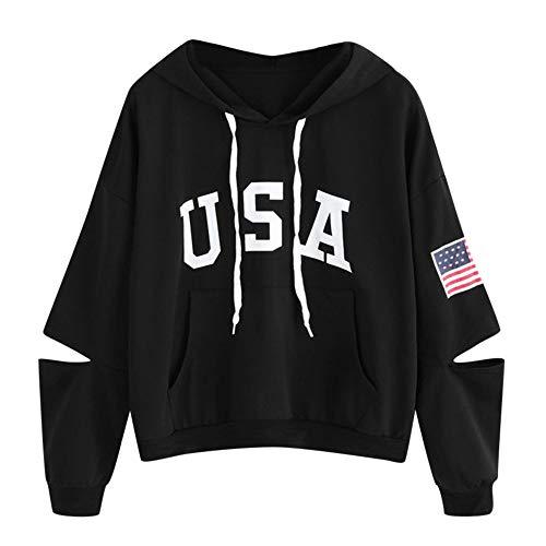 TWIFER Hoodie Brief Flagge Gedruckt Sweatshirt Langarm Pullover Tops Bluse (XL/EU 40, Schwarz-1)