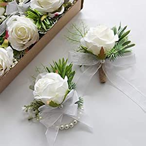 Floroom 3pairs Rose Wrist Corsage Wristlet Band Bracelet and Men Boutonniere Set for Wedding Prom White