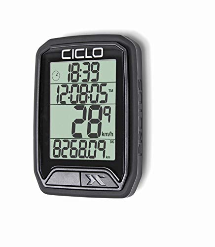 CICLO PROTOS 213 drahtloser Fahrradcomputer, in schwarz, mit 13 Funktionen