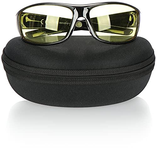 com-four® Occhiali per la Visione Notturna per i conducenti - Occhiali per la Guida Notturna con Lenti polarizzate e Custodia - Gli Occhiali da Notte riducono l'abbagliamento e i riflessi