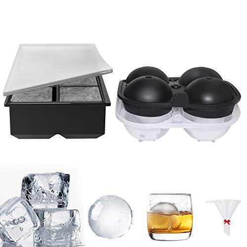 GoZheec Eiswürfelform Silikon Eiswürfelbehälter mit Deckel 2 Stück BPA Frei Eiswürfel Form für Whisky Bier Schokolade Pudding Saft Getränke, 4 Kugeln und 8 Würfel