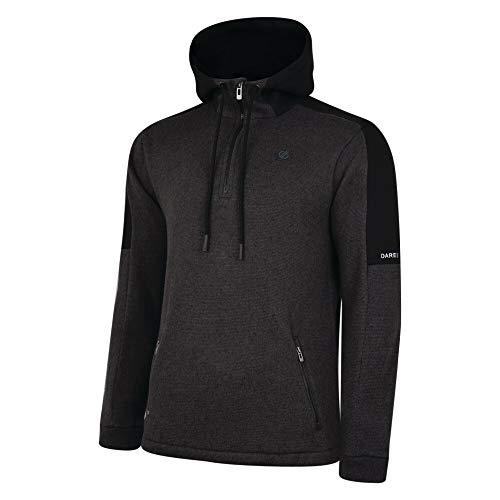 Dare 2b sous Couche Technique Effet Tricot Homme Comply avec Capuche, Poches zippées et Ouverture Centrale par 1/2 Zip Knitwear, Charcoal Grey/Black, FR (Taille Fabricant : XL)